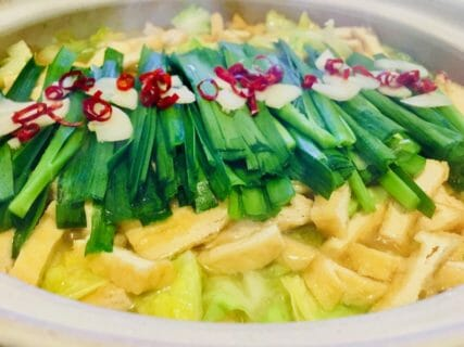 上野肉店の「もつ」で作ったもつ鍋